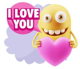 3d Rendering. Emoji in love holding heart shape saying I Love Yo