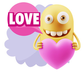 3d Rendering. Emoji in love holding heart shape saying Love with