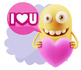 3d Rendering. Emoji in love holding heart shape saying I Love U