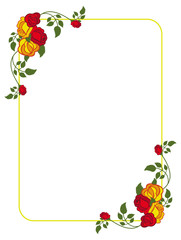 Vertical frame with red and yellow roses. Vector clip art.