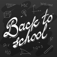 Back to School Vector Calligraphy Black Board