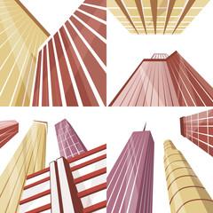 Set of modern buildings in the city. Cartoon vector illustration