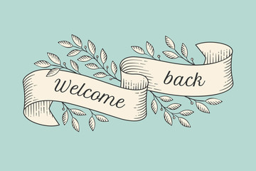 Greeting card with inscription Welcome back