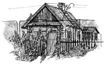 Rustic motif. Old wooden buildings. Illustration drawn by hand.