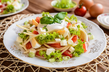 Spaghetti pasta salad with tomato, lettuce, egg, Feta cheese, green onion and sour cream