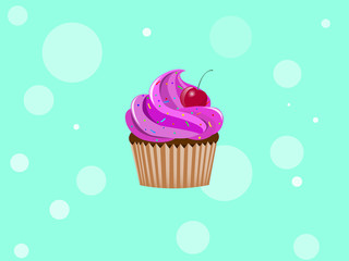 Cupcake with colorful little candy and cherry. Vector illustration background.