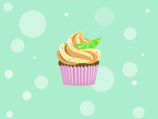 Cupcake with colorful little candy and lime. Vector illustration background.