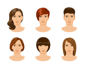 young female face with different hairstyles