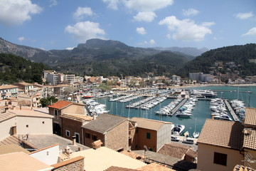 Puerto de Soller Port of Mallorca with boats in balearic island, Tramuntana mountains