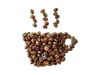 roasted coffee beans, coffee cup shape isolated on white backgro
