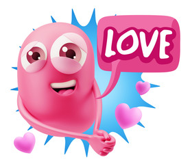 3d Rendering. Emoji in love with hearts shapes saying Love with