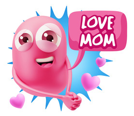 3d Rendering. Emoji in love with hearts shapes saying Love Mom w