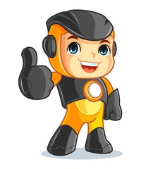 Cute Robot Mascot Cartoon Vector Illustration Thumbs Up