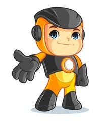 Cute Robot Mascot Cartoon Vector Illustration Welcome