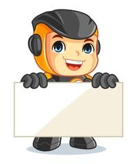 Cute Robot Mascot Cartoon Vector Illustration Holding a Banner