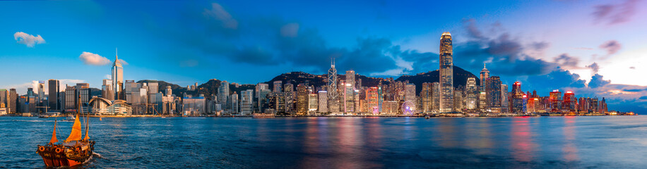 Aluminium Prints Asian Famous Place Hong Kong Victoria Harbor in magic hour