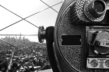 New York City, Usa, Manhattan aerial view with a telescope in foreground
