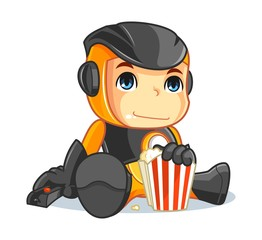Cute Robot Mascot Cartoon Vector Illustration Watching TV