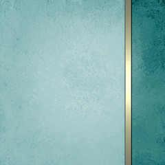 blue green background with texture and gold ribbon on teal side bar panel