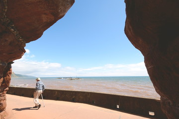 View from the cave on Jurassic Coast in Sidmouth, Devon