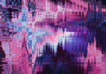 violet blurred abstract background texture with horizontal stripes. glitches, distortion on the screen broadcast digital TV satellite channels