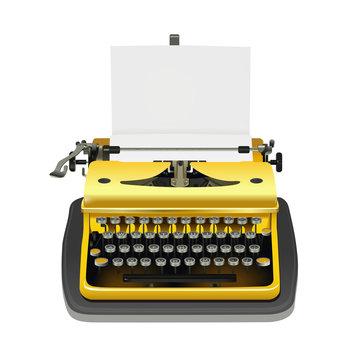yellow typewriter vector - desk piano, writing machine