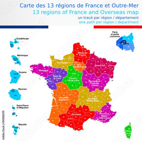 """""""Carte des 13 régions de France et outre-mer colorée avec le nom des régions, chef lieux de ..."""