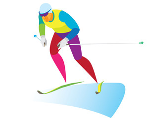young skier racer on skiathlon