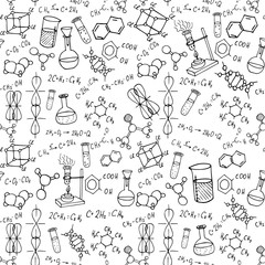 chemistry hand drawn doodles seamless vector pattern