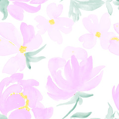 watercolor flowers seamless pattern. hand drawn vector illustration for your design
