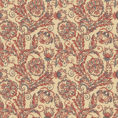 Vector Floral Illustration in Asian textile style