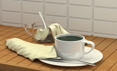 Coffee glass 3D rendering