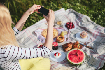Girl photographing on phone picnic
