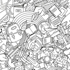 Vector line art school seamless pattern. Monochrome doodle education and school supplies. Design for fashion textile print, wrapping paper, web backgrounds, coloring book.