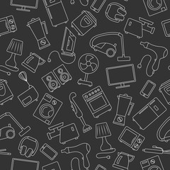 Seamless background with a simple contour icons on the topic of household appliances, a light outline on a dark background