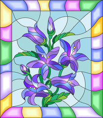 Illustration in stained glass style with flowers, buds and leaves of  campanula flowers