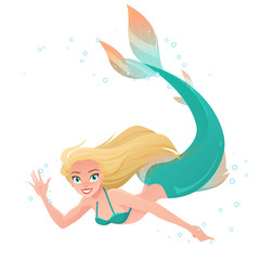 Cartoon mermaid waving hand under water. Vector illustration isolated on white background.