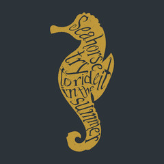Typography lettering seahorse