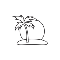 Outline island with palm icon isolated on white background