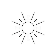 Outline sun icon isolated on white background