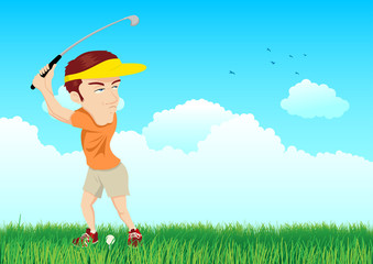 Cartoon illustration of a golfer