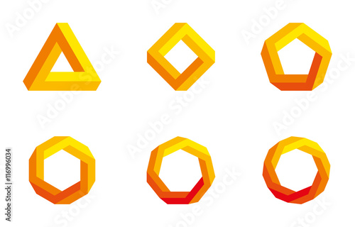Number Names Worksheets pentagon hexagon heptagon octagon : Penrose triangle and polygons in yellow and orange colors. Penrose ...