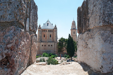 Gerusalemme: vista della Basilica della Dormizione di Maria sul Monte Sion il 6 Settembre 2015. La Chiesa sorge sul luogo in cui secondo la tradizione cattolica è morta la Vergine Maria
