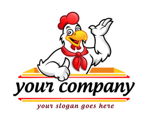 Chicken logo, chicken mascot, chicken character. Suitable for restaurant logo. Vector of chicken character.