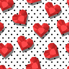 Vector seamless pattern with diamonds, gems, jewels in heart shape. Design for fabric, fashion textile print, wrapping paper. Trendy background with red hearts and polka dot texture.