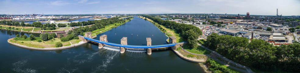 Aerial view of the historic Ruhr Weir in Duisburg, Germany