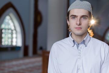 Religious muslim man praying, steps of praying