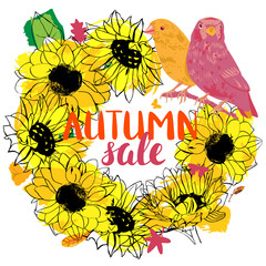 Vector Autumn Sale wreath with sunflowers, birds, and butterflie