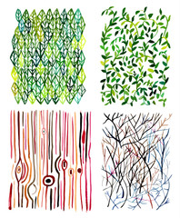 Vector watercolor textures with abstract natural forms