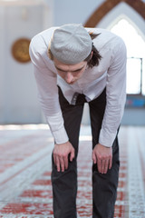 Religious muslim man praying, steps of praying